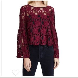 Cupcakes and Cashmere Red Floral Lace Blouse Sz S